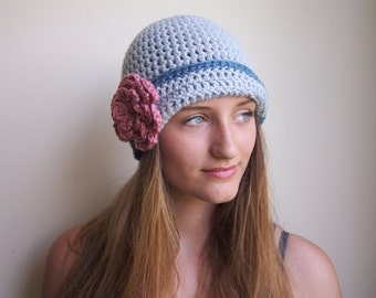 Croche hat pattern, flapper hat, cloche hat, beanie with flower , woman crochet hat,  DIY tutorial, retro hat