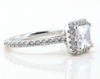 Moissanite Engagement Ring Diamond Side Stones 14k Gold Ring Name Pretty as a Princess