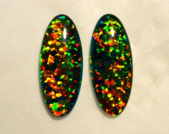 Synthetic Loose Triplet Opal Stones Matched pair 24x10 mm Oval . item 70341.