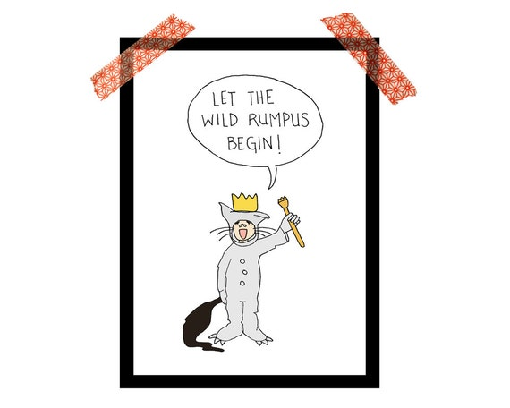 Where the Wild Things Are art, 5x7 print, Let the Wild Rumpus Begin