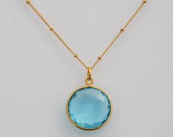 Blue Topaz Necklace, December Birthstone Necklace, Custom Jewelry, gold Necklace, round gemstone necklace - Birthstone Pendant
