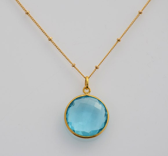 blue topaz necklace december birthstone necklace by