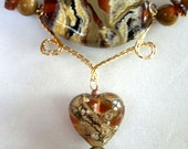 HOLD FOR Georgianne---- Lampwork Glass Bead,  Fossil Bead  and Amber Bead Necklace