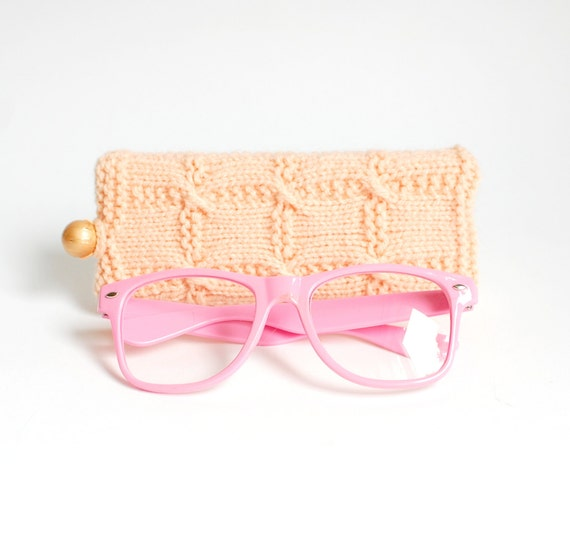 Peach Knit Glasses Case. Reading Glasses Case. Knitted Sunglasses Holder.