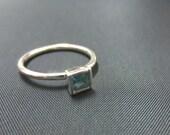 Square shaped Gemstone Stackable Ring Sterling Silver, Garnet/Amethyst/Blue Topaz/Smoky Topaz/White Topaz/Peridot/Citrine, Size 2-15