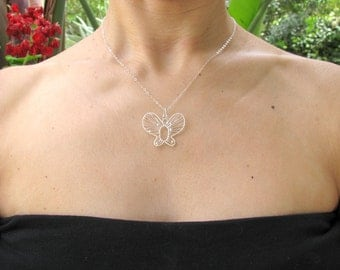 Butterfly necklace, bridesmaid necklace, bridal necklace, wedding jewelry, wire necklace, nature jewelry, minimalist necklace