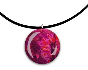 pink, Elephant art, pink, glass tile pendant, handmade, round, circle, magenta color, wild animal art