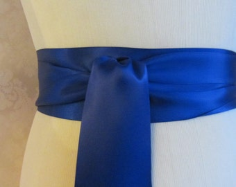 Cobalt Blue Satin Ribbon Sash / Ribbon Sash / Satin Bridal Sash /  Bridesmaid Sash / Cobalt