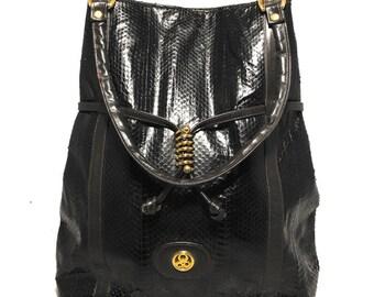 Vintage Dark Brown Snakeskin Tote Handbag c1980s