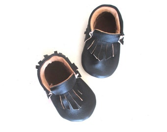 Black Leather  Moccasins Baby shoes Baby Moccasins
