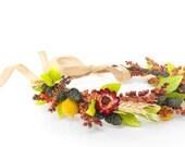Bridal Flower Crown-Boho Wedding-Wedding Flower Crown-Dried Flowers-Hair Wreath-Fall Wedding-Headdress-Flower Crown-Fall Photo Shoot