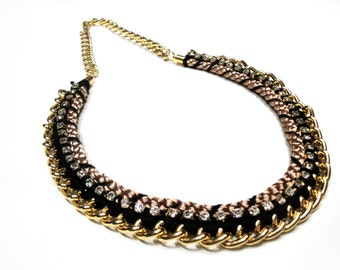 Black, gold and taupe necklace with rhinestone detail