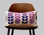 Scandinavian Retro flower 1970 purble pink folk Cushion Cover by Gunna Ydri