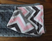 Pink and Grey mini minky blanket ,great for stroller..carseat ..day care or just to cuddle with.She is going to take every where with her