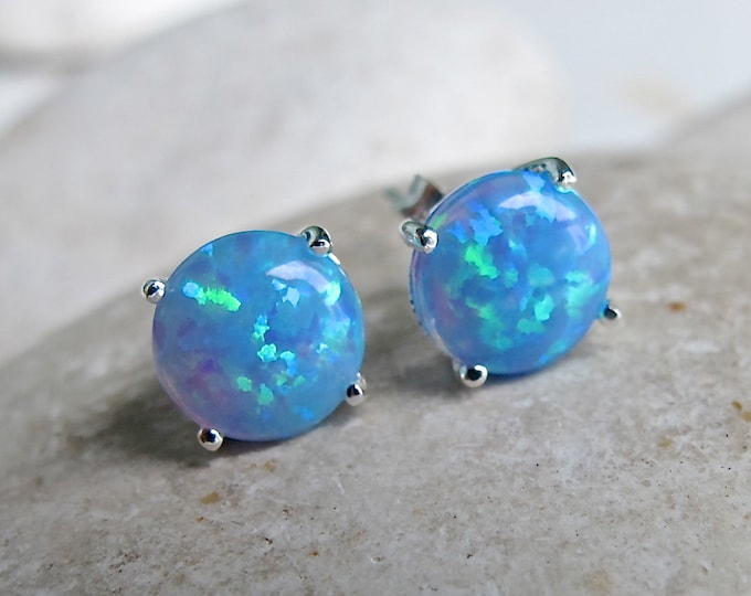 Blue Opal Stud Earring- Something Blue Earring- Round Opal Earring- Simple Iridescent Earring- Silver Prong Earring- October Birthstone Stud
