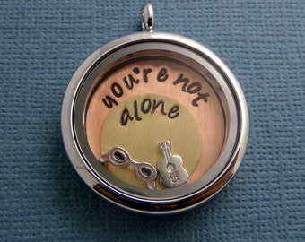 Charity Series - Darren Criss Inspired - You're Not Alone - A Floating Locket (Memory / Living Locket) - READY TO SHIP
