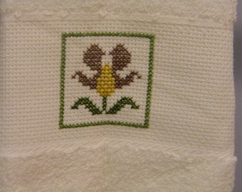 Flower Towel - Yellow and Purple - Cross Stitch Towel - Handmade Gift - Flower Guest Towel - Floral Kitchen Towel