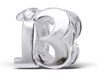 NUMBER 13 THIRTEEN 13th BIRTHDAY Charm Bead Charm Bead 925 Sterling Silver Fits  All European Charm Bracelets