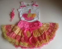 Girls birthday Outfit - Hot Pink and Gold/Mustard tutu/pettiskirt - pettiskirt top cupcake- Hot Pink Headband-pettiskirt- tutu top- Headband