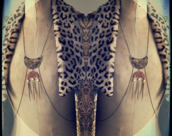 Body harness body armour chain with brass and copper moons and freshwater pearl shooting stars.