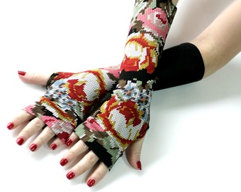 Embroidered Flowers Black gloves, mittens, arm warmers - vintage, stempunk, goth, victorian, floral, gift, Yoga Lolita , Bohemian