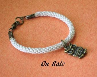 Owl bracelet - kumihimo braid - on sale