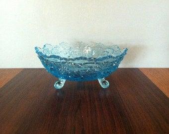 Vintage Blue Cut Glass Pedestal Bowl