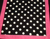 "One 20"" X 20"" Black with White Polka Dot Trim in Pink Square Table Toppers only"