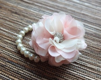 Wrist Corsage, Chiffon Flower Corsage (Ivory and Cherry Blossom Pink), Ivory and Pink Corsage, Chiffon Rose corsage