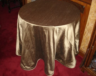 Taupe Shantung Silk-Like Round Table Topper