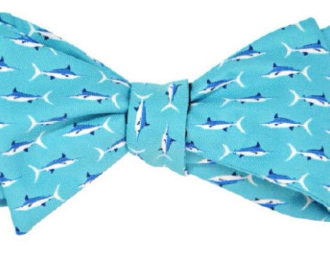 Marlin Bow Tie, Striped Bow Tie, Blue, Pink, Easter Tie, Preppy Bow Tie