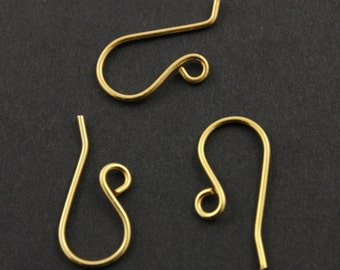 """25% Discount Bulk -10 Pairs, (20 Pieces) 24K Gold Vermeil Over Sterling Silver Ear Wire, .028""""/ 20GA Round Wire,  (vm/706)"""
