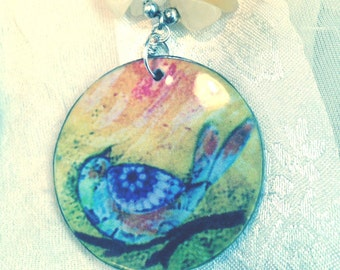 Peach Selenite Necklace With Painted Mother of Pearl Bird Colorful Pendant Handmade by NorthCoastCottage Jewelry
