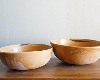 Vintage Large Mexican Pottery Primitive Mixing Bowls
