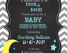 Moon and Stars Baby Shower  invitations printable or digital file - love you to the moon and back