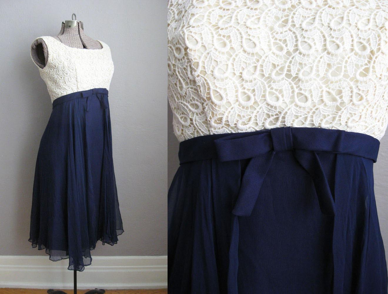 ann es 1960 robe de cocktail vintage ann es 60 robe broderie. Black Bedroom Furniture Sets. Home Design Ideas