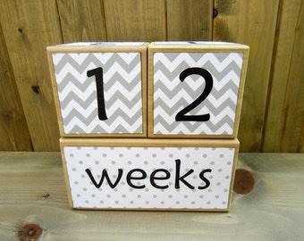 Baby age blocks/Pregnancy countdown blocks/Weeks, months, years, grade/Baby shower gift/gray white/neutral/chevron, polka dots