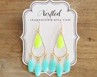 Neon Yellow and Mint Teardrop Chandelier Statement Earrings
