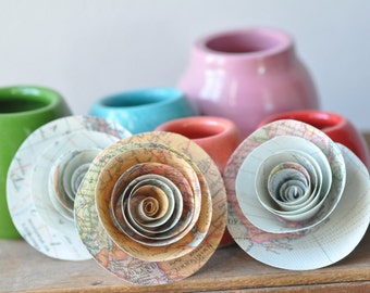 Pastel Map Paper Flowers Set of 25-