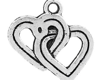 5 Pieces Antique Silver Entwined Heart Charms