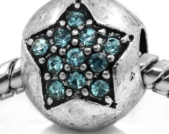 2 Pieces Antique Silver Carved Star Light Blue Rhinestone European Charm Beads