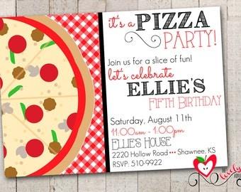 Pizza Birthday Party Invitation, Printable Pizza Party Invite