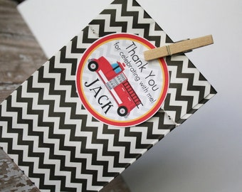 Firetruck Favor Tags OR Stickers - Set of 12