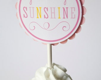You Are My Sunshine Cupcake Toppers - Set of 12