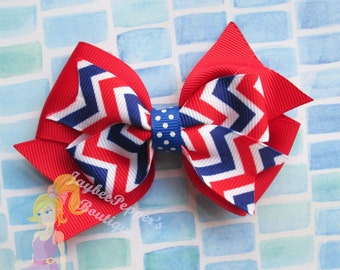 4th of July hair bow Red white and blue hair bow  patriotic hair bow America holiday USA Chevron bow Ready to Ship