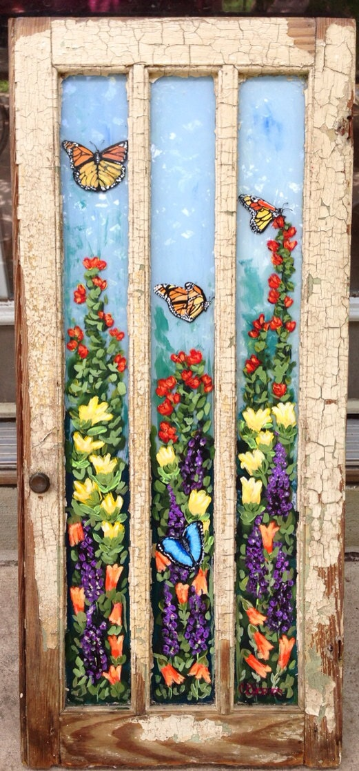 Butterflies and flowers acrylic painted antique window for Painting on glass windows with acrylics