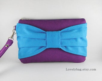SUPER SALE - Eggplant Purple with Turquoise Bow Clutch - Bridal Clutches, Bridesmaid Wristlet, Wedding Gift, Zipper Pouch - Made To Order