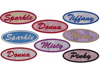 1.5 X 4 Oval Personalized Custom Patch Embroidered Sparkle Name Patch