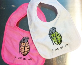 Baby bib HAND GRENADE Embroidered handmade