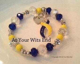 Down Syndrome Bracelet, stretchy bracelet, yellow and blue bracelet, down syndrome, awareness bracelet,